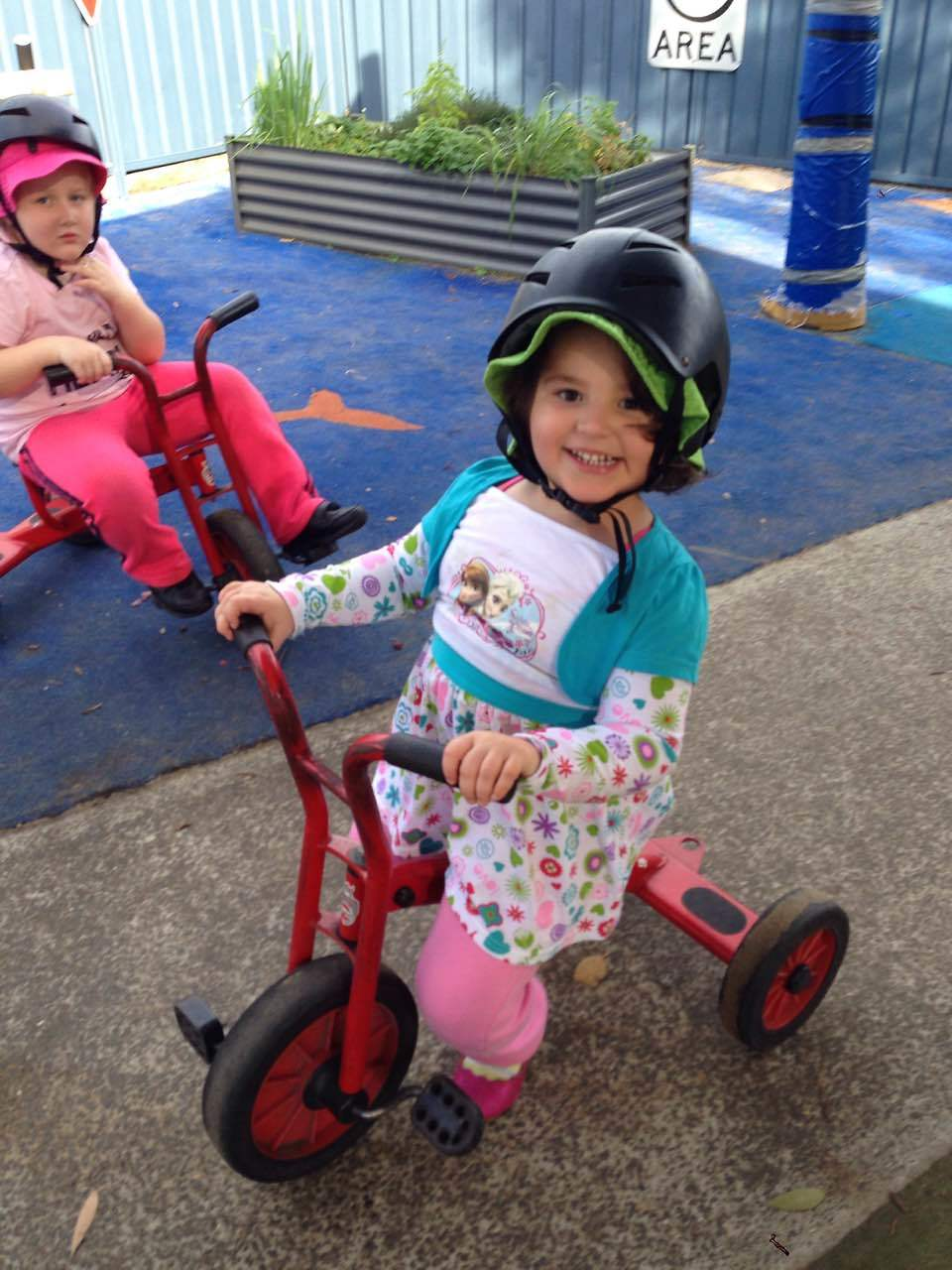 The bikes are a big part of our outdoor program, the children love using these as you can see by Charlottes big smile.